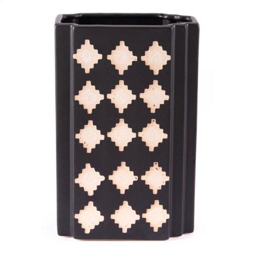 Pampa Rectangular Vase Lg Black & Beige