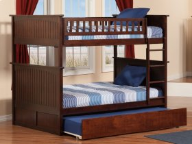 Nantucket Bunk Bed Full over Full with Raised Panel Trundle Bed in Walnut