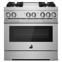 """RISE 36"""" Dual-Fuel Professional Range with Chrome-Infused Griddle and Steam Assist"""