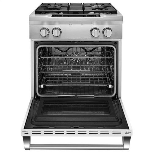 KitchenAid® 30'' 4-Burner Dual Fuel Freestanding Range, Commercial-Style - Imperial White