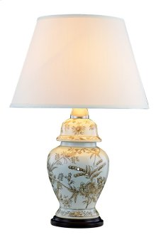 1 Light Table Lamp with Metal Ceramic Wood Body & Polished Brass#04 & Brown&Black (EL-5010) Finish