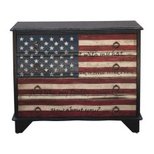 Traditional Styled American Flag Four Drawer Accent Storage Chest with Eric Church Lyrics