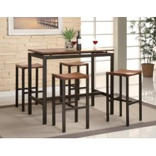 Atlas Birch Veneer and Black Five-piece Dining Set