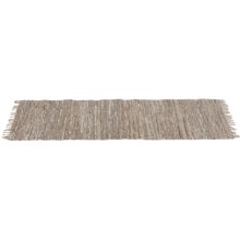 Beige Leather Chindi 2' x 6' Rug (Each One Will Vary).
