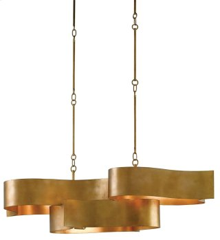 Grand Lotus Oval Chandelier - 13.25h x 50.5w x 23.5d, adjustable from 17h to 58h