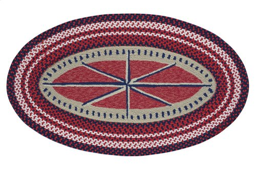Hyport-Compass Red Braided Rugs