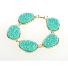 BTQ Teal Stones on Gold Bracelet