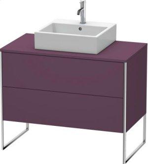 Vanity Unit For Console Floorstanding, Aubergine Satin Matt Lacquer