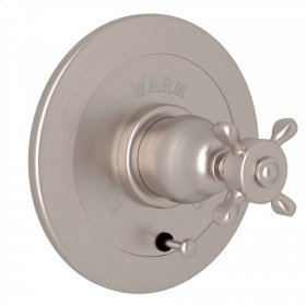 Satin Nickel Perrin & Rowe Edwardian Integrated Volume Control Pressure Balance Trim With Diverter with Edwardian Cross Handle