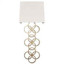 Large Gold Leaf Circles Sconce With White Linen Shade