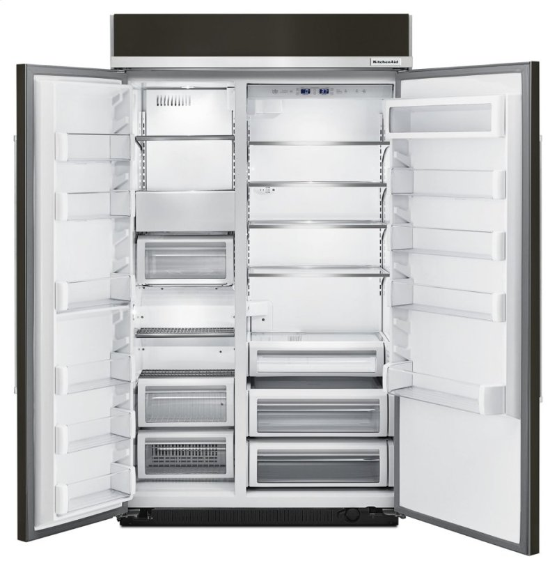 30 0 Cu Ft 48 Inch Width Built In Side By Side Refrigerator With Printshield Finish Black Stainless