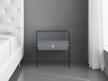 The Bari High Gloss Gray Lacquer Nightstand / End Table