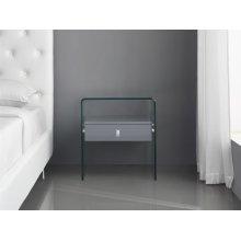 The Bari High Gloss Gray Lacquer Nightstand / End Table