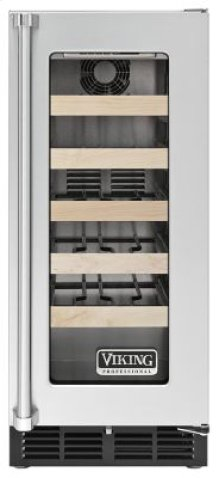 """15"""" Undercounter Wine Cellar VWCI, Clear Glass, Right Hinge/Left Handle"""