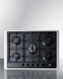 "5-burner Gas Cooktop Made In Italy In Black Matte Finish With Sealed Burners, Cast Iron Grates, Wok Stand, and Stainless Steel Frame To Allow Installation In 30"" Wide Counter Openings"