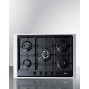 5-burner Gas Cooktop Made In Italy In Black Matte Finish With Sealed Burners, Cast Iron Grates, Wok Stand, and Stainless Steel Frame To Allow Installation In 30