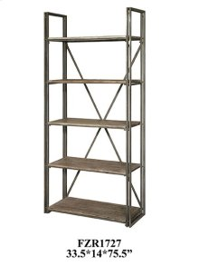 LAUDERDALE AGED METAL AND RUSTIC WOOD ETAGERE