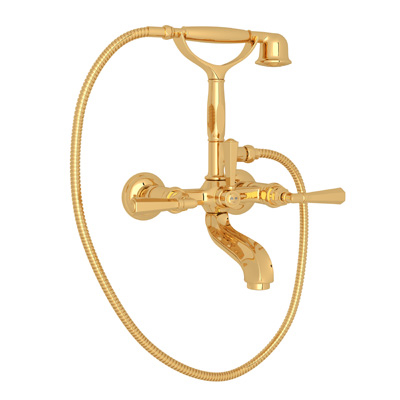 Inca Brass Palladian Exposed Tub Set With Handshower with Palladian Metal Lever