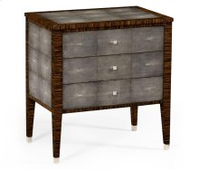 Faux Macassar Ebony & Anthracite Faux Shagreen Bedside Chest of Drawers
