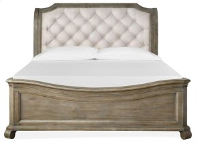 Complete Cal.King Sleigh Bed w/Shaped Footboard