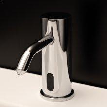Deck-mount single-hole electronic soap dispenser.