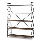 Baxton Studio Mirna Industrial Black Iron Metal and Natural Oak Wood 5-Shelf Quatrefoil Accent Bookcase Product Image
