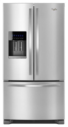 Whirlpool 4pc. Stainless steel kitchen package with 25 cu.ft. full depth French door fridge and electric range