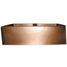 "Port Double Bowl Copper Farmer Sink - 35"" - Hammered Antique Copper"