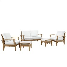 Marina 5 Piece Outdoor Patio Teak Set in Natural White