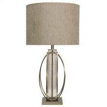 Brushed Steel & Seeded Glass Cylinder Table Lamp with Designer Fabric Hardback Shade