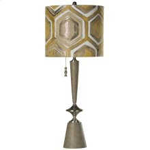 Emerson Metal & Molded Base Table Lamp with Single Pull Chain and Metallic Designer Fabric Shade