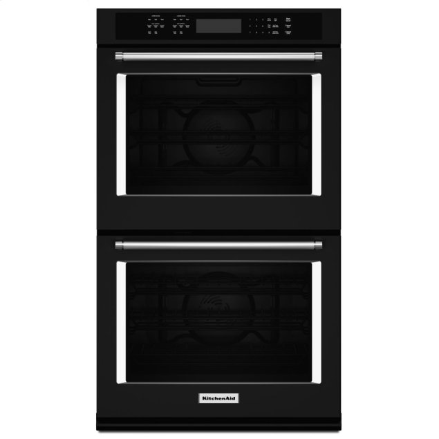 """KitchenAid 27"""" Double Wall Oven with Even-Heat™ True Convection - Black"""
