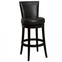 "Boston Swivel Barstool In Black Bonded Leather 26"" seat height Product Image"