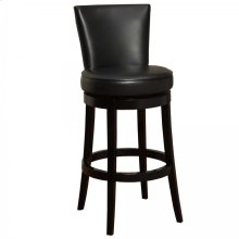"Boston Swivel Barstool In Black Bonded Leather 26"" seat height"