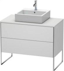 Vanity Unit For Console Floorstanding, White Satin Matt Lacquer