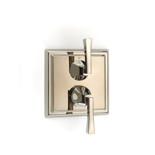 Dual Control Thermostatic With Diverter and Volume Control Valve Trim Leyden Series 14 Polished Nickel
