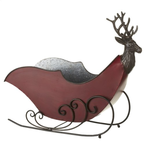 Red & Galvanized Sleigh with Stag.