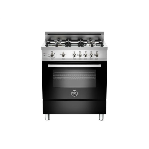 30 4-Burner, Gas Oven Black
