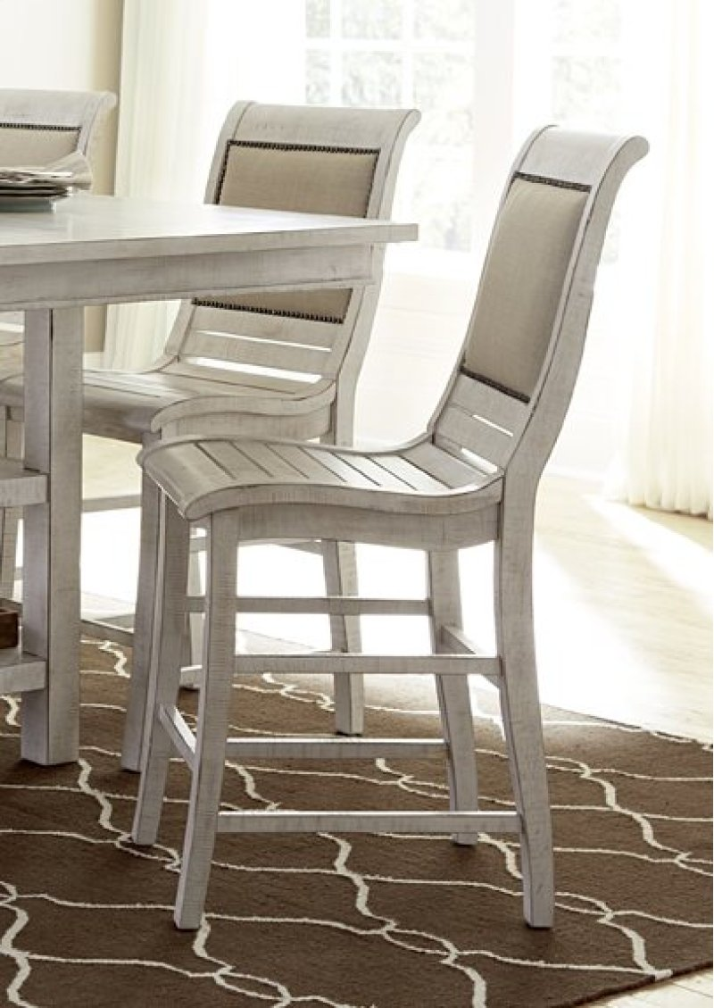 Counter upholstered chairs 2 per carton distressed white finish