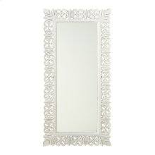 Carved Whitewash Frame Wall Mirror.