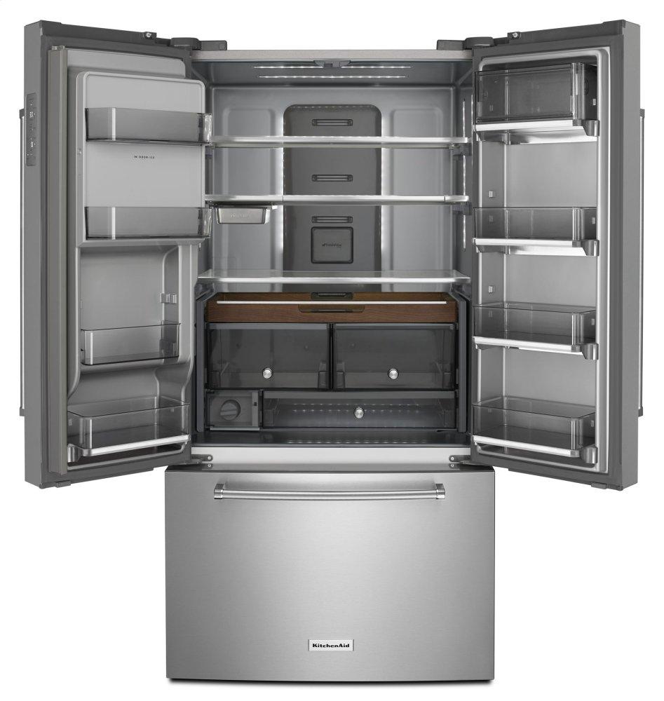 "23 8 Cu Ft French Door Counter Depth: KRFC704FBSKitchenaid 23.8 Cu. Ft. 36"" Counter-Depth French Door Platinum Interior Refrigerator"