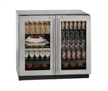 """36"""" Glass Door Refrigerator Stainless Frame (Lock) Double Doors"""