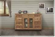 Solid Parota Wood Console w/ 2 glass doors w/ 9 Drawers & 5 Bottle Holder Shelves Product Image