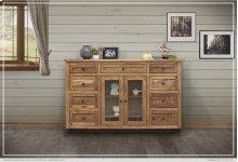 Solid Parota Wood Console w/ 2 glass doors w/ 9 Drawers & 5 Bottle Holder Shelves