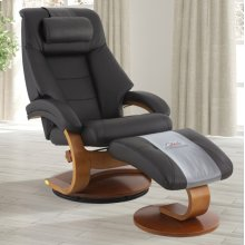 Espresso (Brown) Top Grain Leather with Walnut Finish -Reclines -Swivels -Adjustable Cervical Pillow -Quality Top Grain Leather -Pillow Top Back Cushion