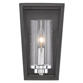 Mercer 1 Light Wall Sconce in Black with Seeded Glass