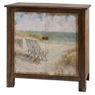 Gulf Breeze Rustic Wood Painted Canvas Beach Scene 2 Door Cabinet Product Image