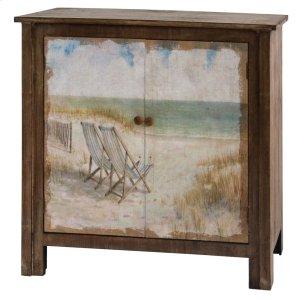 CRESTVIEW COLLECTIONSGulf Breeze Rustic Wood Painted Canvas Beach Scene 2 Door Cabinet
