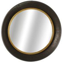 Gunmetal Bowl Wall Mirror with Gold Edge