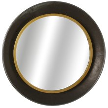 Gunmetal Bowl Wall Mirror with Gold Edge